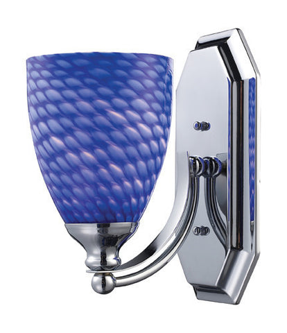 ELK Lighting 570-1C-S One Light Vanity In Polished Chrome And Sapphire Glass - PeazzLighting