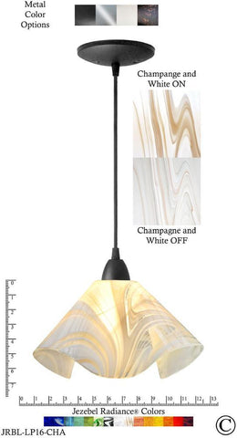 Jezebel Radiance Lily Pendant Large - Hardware Black - Glass Champagne, Beige & White - PeazzLighting