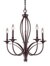 Landmark Lighting 61032-5 Medford Five Light Chandelier in Oiled Bronze - PeazzLighting