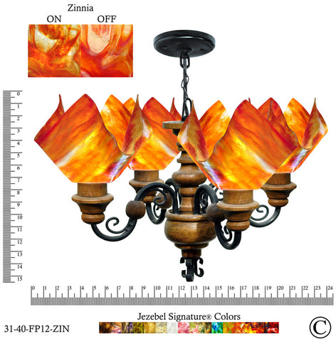 Jezebel Signature® Flame Vineyard Chandelier. Glass: Zinnia - PeazzLighting