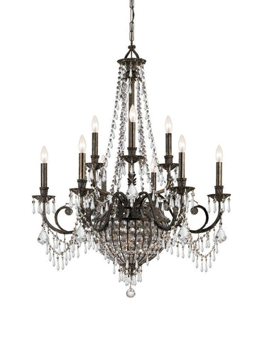 Crystorama Wrought Iron Hand Cut Lead Crystal Chandelier 6 Lights - English Bronze - 5168-EB-CL-MWP - PeazzLighting