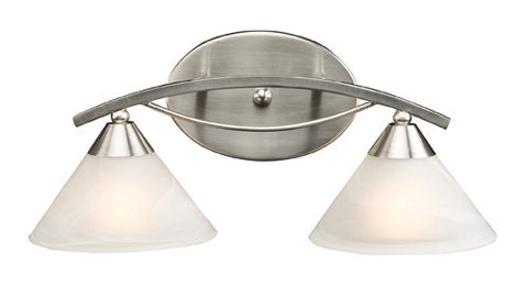 ELK Lighting 7631-2 Two Light Vanity In Satin Nickel And Marblized White Glass - PeazzLighting