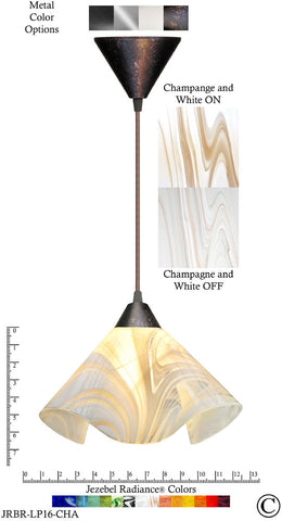 Jezebel Radiance Lily Pendant Large - Hardware Brown - Glass Champagne, Beige & White - PeazzLighting