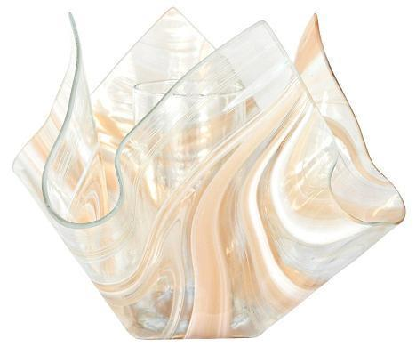 Jezebel Radiance Champagne, Beige & White Glass Vase - PeazzLighting
