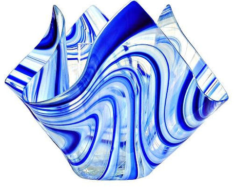 Jezebel Radiance Blue And White Glass Vase - PeazzLighting