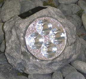 HomeBrite 30847 Solar Powered Rock Spotlight Gray - PeazzLighting