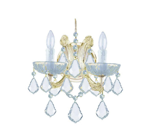 Crystorama 4472-GD-CL-MWP 2-Lights Maria Theresa Wall Mount Draped In Hand Cut Crystal - Gold - PeazzLighting