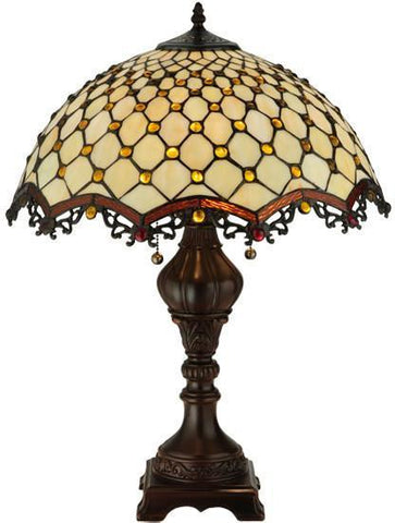 "Meyda Tiffany 124834 24""H Diamond & Jewel Table Lamp - PeazzLighting"