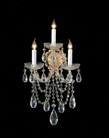 Crystorama 4423-GD-CL-MWP 3-Lights Maria Theresa Wall Sconce Draped In Hand Cut Crystal - Gold - PeazzLighting