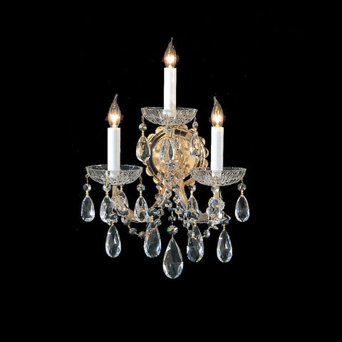 Crystorama 4403-GD-CL-SAQ 3-Lights Maria Theresa Wall Sconce Draped In Swarovski Spectra Crystal - Gold - PeazzLighting