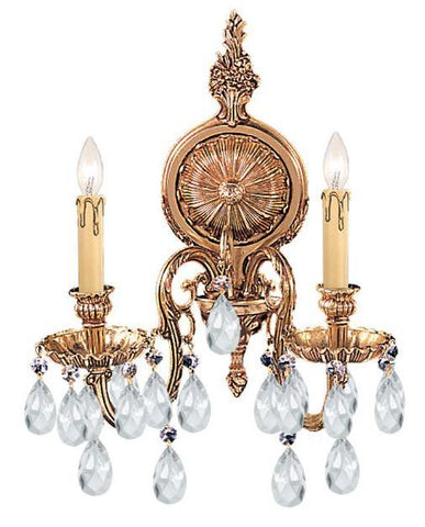 Crystorama 2902-OB-CL-S 2-Lights Ornate Cast Brass Wall Sconce Accented With Swarovski Elements Crystal - Olde Brass - PeazzLighting