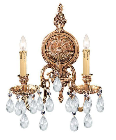 Crystorama 2902-OB-CL-SAQ 2-Lights Ornate Cast Brass Wall Sconce Accented With Swarovski Spectra Crystal - Olde Brass - PeazzLighting