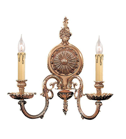 Crystorama 2602-OB 2-Lights Ornate Cast Brass Wall Sconce - Olde Brass - PeazzLighting