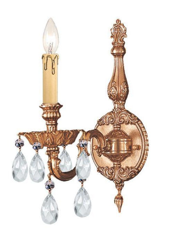 Crystorama 2501-OB-CL-SAQ 1-Lights Ornate Cast Brass Wall Sconce Accented With Swarovski Spectra Crystal - Olde Brass - PeazzLighting