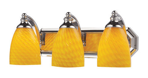 ELK Lighting 570-3C-Cn Three Light Vanity In Polished Chrome And Canary Glass - PeazzLighting