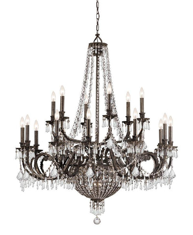 Crystorama Wrought Iron Hand Cut Lead Crystal Chandelier 12 Lights - English Bronze - 5169-EB-CL-MWP - PeazzLighting