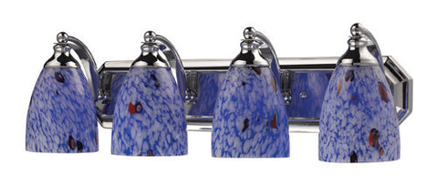 ELK Lighting 570-4C-Bl Four Light Vanity In Polished Chrome And Starburst Blue Glass - PeazzLighting