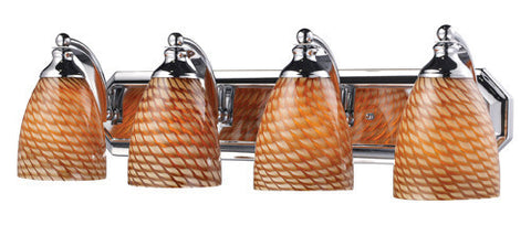 ELK Lighting 570-4C-C Four Light Vanity In Polished Chrome And Coco Glass - PeazzLighting