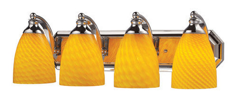 ELK Lighting 570-4C-Cn Four Light Vanity In Polished Chrome And Canary Glass - PeazzLighting