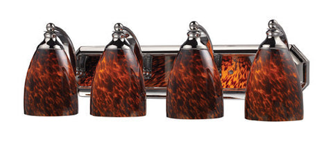 ELK Lighting 570-4C-Es Four Light Vanity In Polished Chrome And Espresso Glass - PeazzLighting