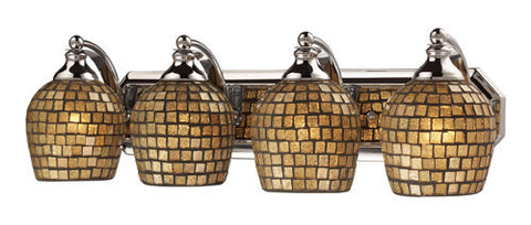 ELK Lighting 570-4C-Gld Four Light Vanity In Polished Chrome And Gold Mosaic Glass - PeazzLighting