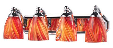 ELK Lighting 570-4C-M Four Light Vanity In Polished Chrome And Multi Glass - PeazzLighting