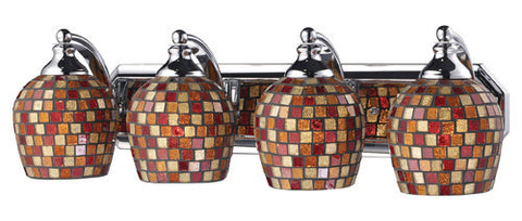 ELK Lighting 570-4C-Mlt Four Light Vanity In Polished Chrome And Multi Mosaic Glass - PeazzLighting