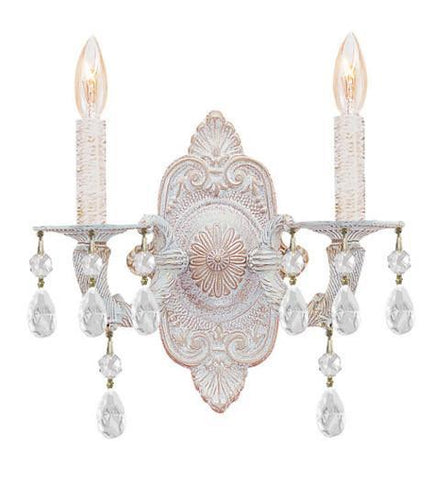 Crystorama 5022-AW-CL-MWP 2-Lights Clear Hand Cut Crystal Chandelier - Antique White - PeazzLighting