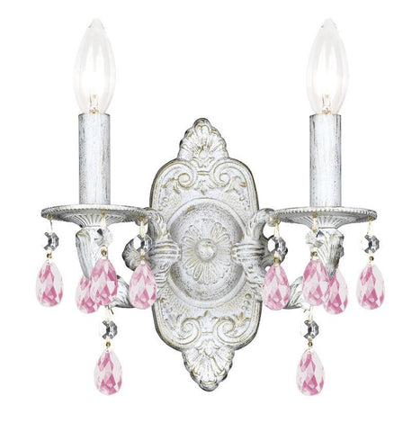 Crystorama 5022-AW-RO-MWP 2-Lights Rose Hand Cut Hand Cut Crystal Chandelier - Antique White - PeazzLighting