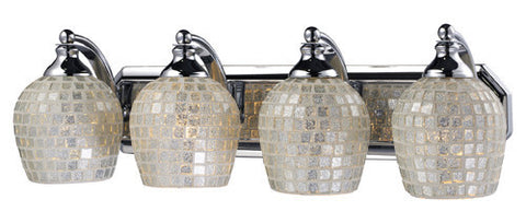 ELK Lighting 570-4C-Slv Four Light Vanity In Polished Chrome And Silver Mosaic Glass - PeazzLighting