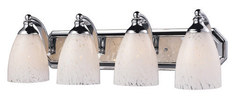 ELK Lighting 570-4C-Sw Four Light Vanity In Polished Chrome And Snow White Glass - PeazzLighting