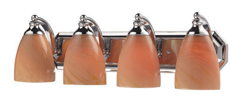 ELK Lighting 570-4C-Sy Four Light Vanity In Polished Chrome And Sandy Glass - PeazzLighting