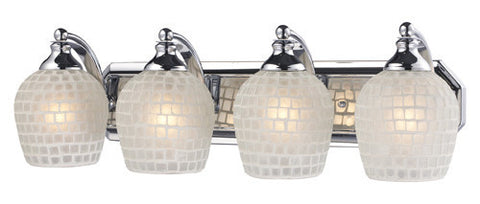 ELK Lighting 570-4C-Wht Four Light Vanity In Polished Chrome And White Mosaic Glass - PeazzLighting