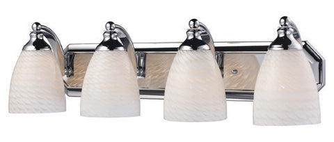 ELK Lighting 570-4C-Ws Four Light Vanity In Polished Chrome And White Swirl Glass - PeazzLighting