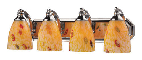 ELK Lighting 570-4C-Yw Four Light Vanity In Polished Chrome And Yellow Blaze Glass - PeazzLighting
