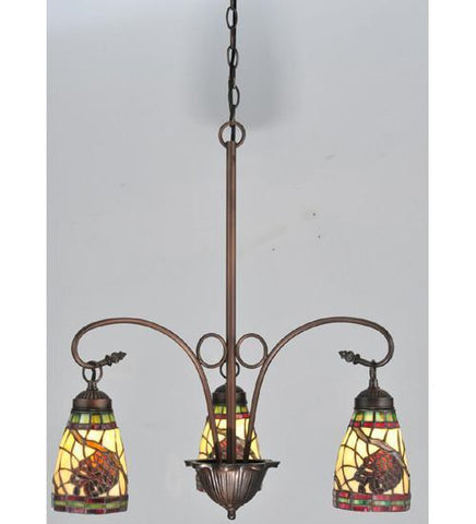 "Meyda Tiffany 106292 23""W Pinecone Dome 3 Lt Chandelier - PeazzLighting"