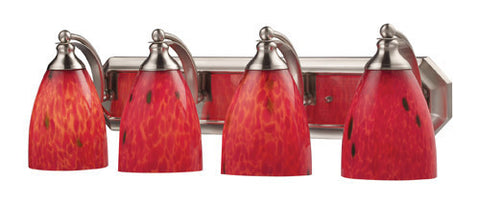 ELK Lighting 570-4N-Fr Four Light Vanity In Satin Nickel And Fire Red Glass - PeazzLighting