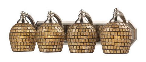 ELK Lighting 570-4N-Gld Four Light Vanity In Satin Nickel And Gold Mosaic Glass - PeazzLighting