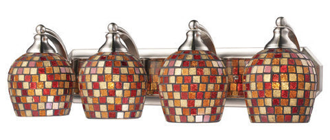 ELK Lighting 570-4N-Mlt Four Light Vanity In Satin Nickel And Multi Mosaic Glass - PeazzLighting