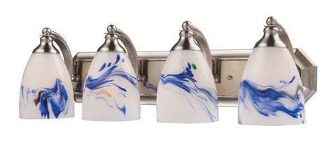 ELK Lighting 570-4N-Mt Four Light Vanity In Satin Nickel And Mountain Glass - PeazzLighting