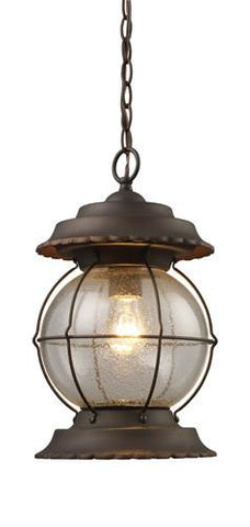 ELK Lighting 08170-Bb Manchester One Light Outdoor Pendant In Burnt Bronze - Peazz.com