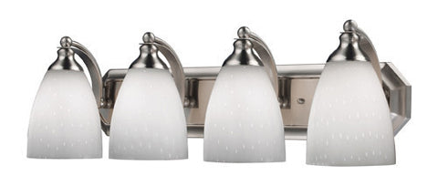 ELK Lighting 570-4N-Wh Four Light Vanity In Satin Nickel And Simply White Glass - PeazzLighting