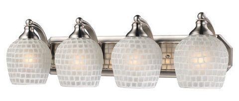 ELK Lighting 570-4N-Wht Four Light Vanity In Satin Nickel And White Mosaic Glass - PeazzLighting