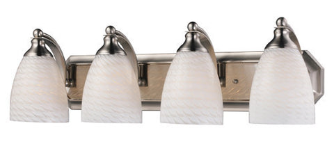 ELK Lighting 570-4N-Ws Four Light Vanity In Satin Nickel And White Swirl Glass - PeazzLighting