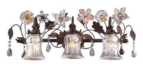 ELK Lighting 7042-3 Three Light Vanity In Deep Rust And Hand Blown Florets - PeazzLighting