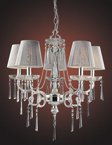 ELK Lighting Lighting 2396-5 Five Light Chandelier In Polished Silver And Iced Glass - PeazzLighting