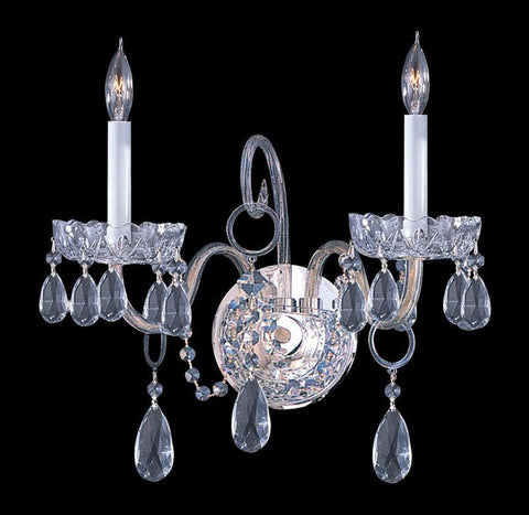 Crystorama 1032-CH-CL-MWP 2-Lights Clear Cut Crystal Wall Sconce - Polished Chrome - PeazzLighting