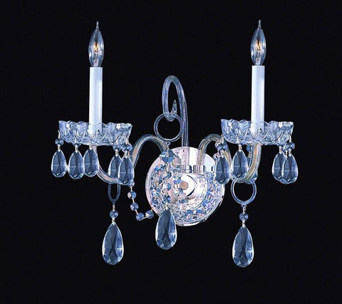 Crystorama 1032-CH-CL-SAQ 2-Lights Swarovski Spectra Crystal Wall Sconce - Polished Chrome - PeazzLighting