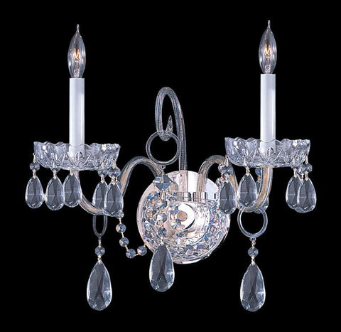 Crystorama 1032-CH-CL-S 2-Lights Swarovski Elements Crystal Wall Sconce - Polished Chrome - PeazzLighting
