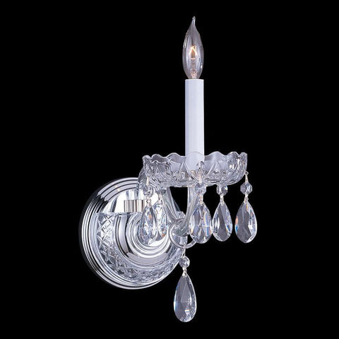 Crystorama 1031-CH-CL-SAQ 1-Lights Swarovski Spectra Crystal Wall Sconce - Polished Chrome - PeazzLighting